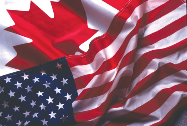 US and Canada flags