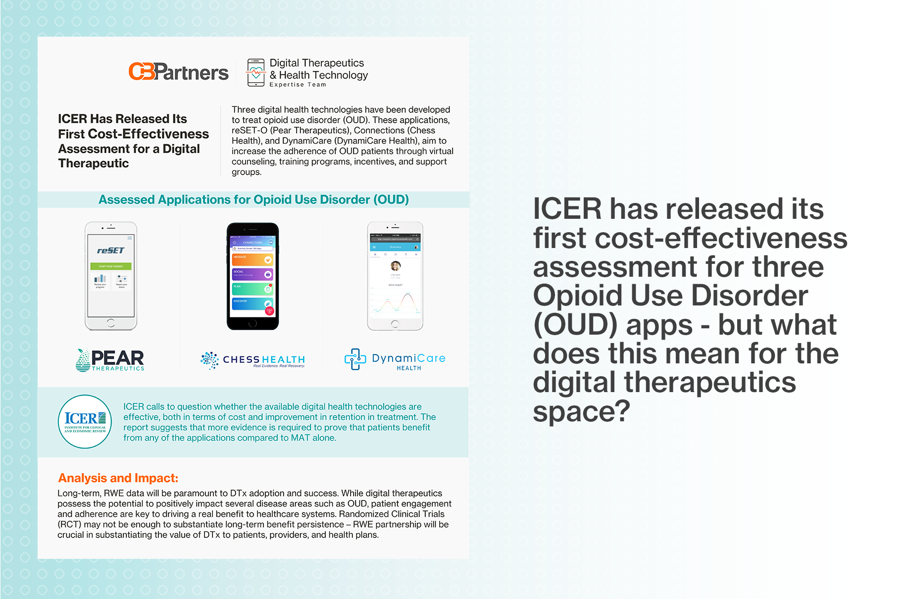 ICER released first cost-effective assessment for digital therapeutic